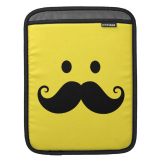 Fun yellow smiley face with handlebar mustache iPad sleeve