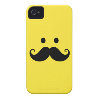 Fun yellow smiley face with handlebar mustache iPhone 4 case