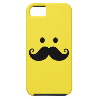 Fun yellow smiley face with handlebar mustache iPhone 5 covers