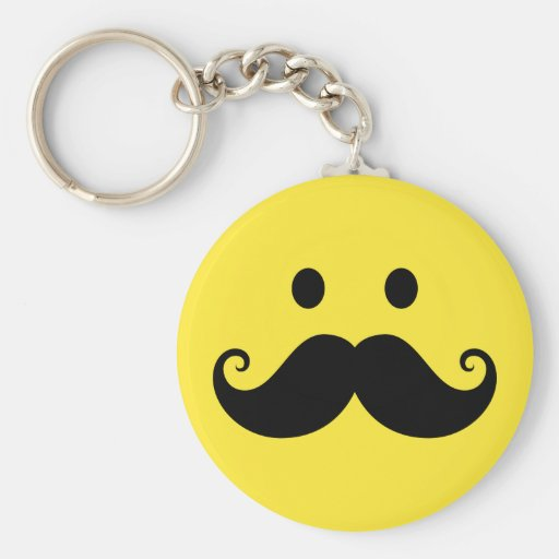 Fun yellow smiley face with handlebar mustache key chain