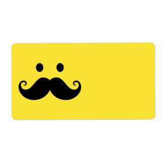 Fun yellow smiley face with handlebar mustache labels