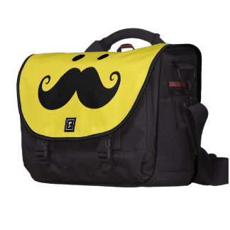 Fun yellow smiley face with handlebar mustache commuter bags