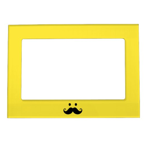 Fun yellow smiley face with handlebar mustache magnetic frame | Zazzle