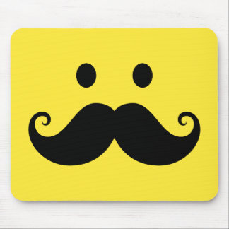 Fun yellow smiley face with handlebar mustache mouse pads