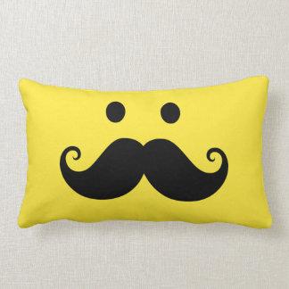 Fun yellow smiley face with handlebar mustache pillows