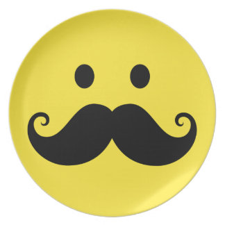 Fun yellow smiley face with handlebar mustache party plates