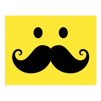 Fun yellow smiley face with handlebar mustache postcard