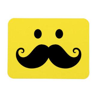 Fun yellow smiley face with handlebar mustache rectangular photo magnet