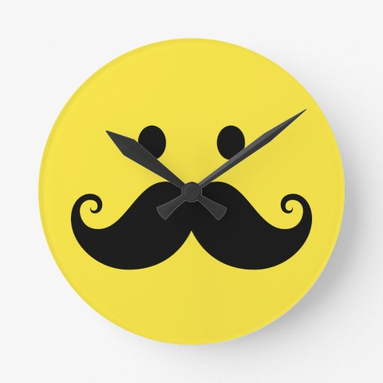 Fun yellow smiley face with handlebar mustache round clock