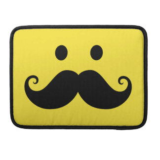 Fun yellow smiley face with handlebar mustache sleeve for MacBooks
