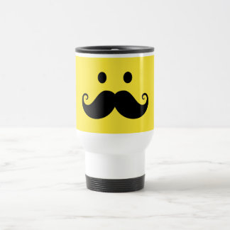 Fun yellow smiley face with handlebar mustache travel mug
