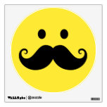 Fun yellow smiley face with handlebar mustache wall graphic