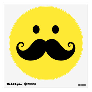 Fun yellow smiley face with handlebar mustache wall sticker