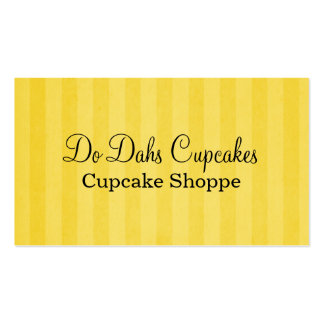 Fun Yellow Stripes Bakery Business Cards