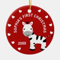 Fun Zebra Baby's 1st First Christmas Gift Circle Ceramic Ornament