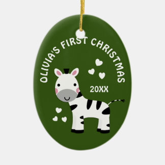 Fun Zebra Baby's 1st First Christmas Gift Green Ceramic Ornament