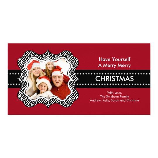 Fun Zebra Frame Christmas Photo Card. Card