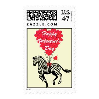 Fun zebra  love heart Valentine's Stamp
