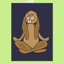 Fun Zen Bunny Rabbit in Yoga Pose Card