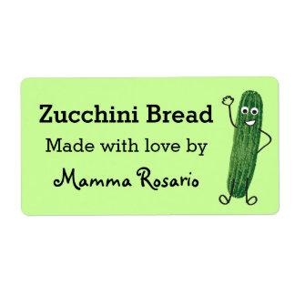 Fun Zucchini Bread Food Bakery Label