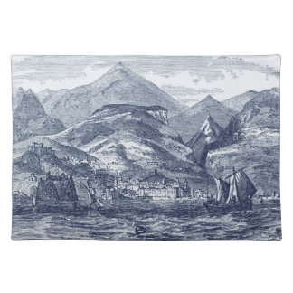 Funchal Madeira Harbor Blue-Tinted Panoramic View Cloth Placemat