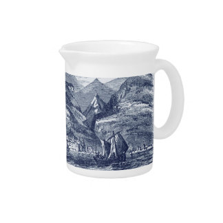 Funchal Madeira Harbor Blue-Tinted Panoramic View Drink Pitcher