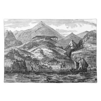 Funchal Madeira Harbor Etching Panoramic View Placemat