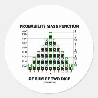 Función de masa de probabilidad de la suma de dos pegatina redonda