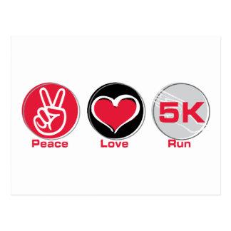 Funcionamiento 5K del amor de la paz Tarjetas Postales