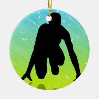 Funcionamiento - atletismo adorno navideño redondo de cerámica