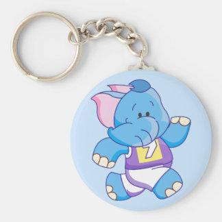 Funcionamiento azul del elefante de Lil Llavero Redondo Tipo Pin