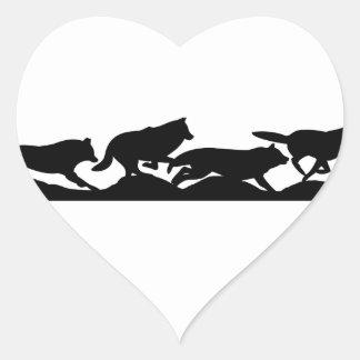 Funcionamiento con los lobos pegatina en forma de corazón