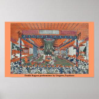 Funcionamiento de Daidai Kagura por Utagawa, Toyoh Impresiones