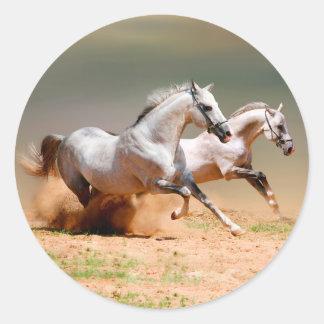funcionamiento de dos caballos blancos pegatina redonda