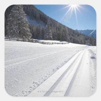 funcionamiento de esquí a campo través preparado f pegatina cuadradas personalizada