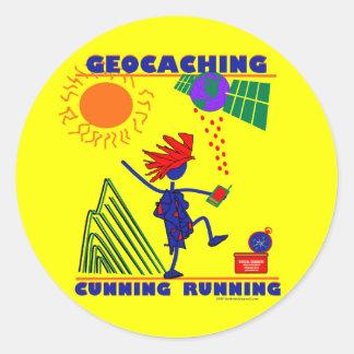 Funcionamiento de la astucia de Geocache Pegatina Redonda