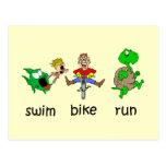Funcionamiento de la bici de la nadada tarjetas postales