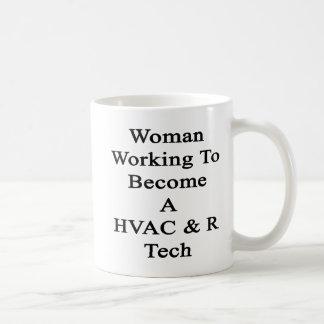 Funcionamiento de la mujer a hacer una tecnología taza básica blanca