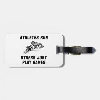Funcionamiento de los atletas etiquetas para equipaje