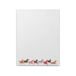 Funcionamiento de los caballos salvajes bloc de notas