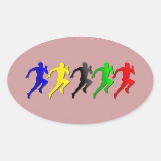 funcionamiento de los corredores del 100m los 200m pegatina ovalada