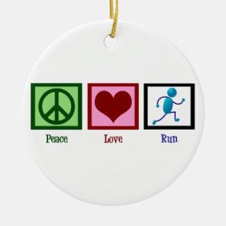 Funcionamiento del amor de la paz adorno navideño redondo de cerámica