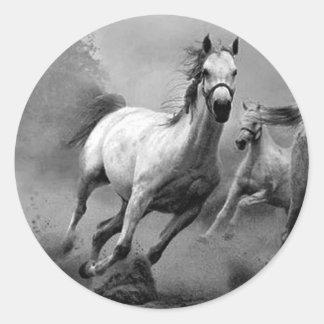 Funcionamiento del caballo pegatina redonda