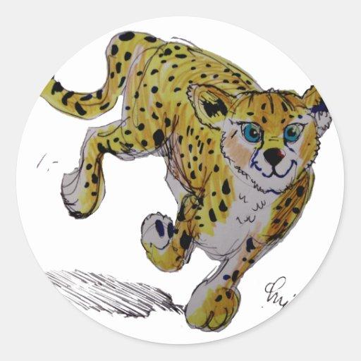 Funcionamiento del cachorro del guepardo de pegatina redonda