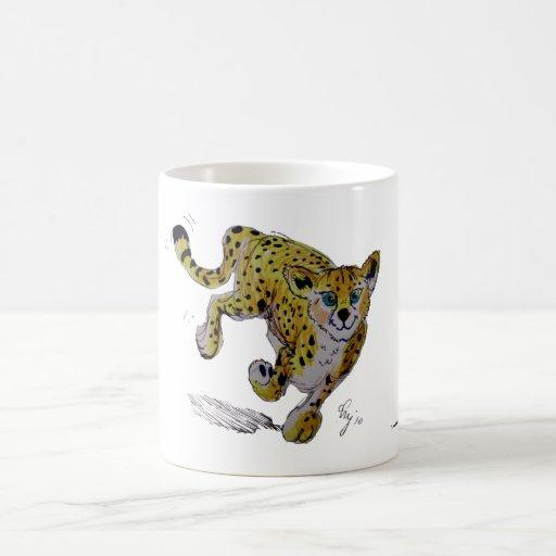 Funcionamiento del cachorro del guepardo de Speeds Tazas De Café