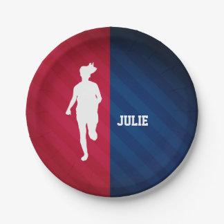 Funcionamiento del chica; Rojo, blanco, y azul Plato De Papel 17,78 Cm