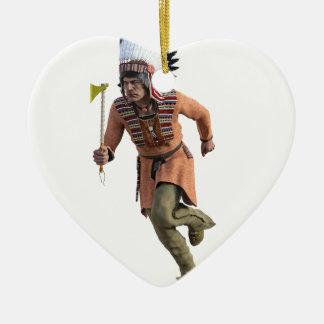 Funcionamiento del guerrero de Cheyenne principal Adorno Navideño De Cerámica En Forma De Corazón