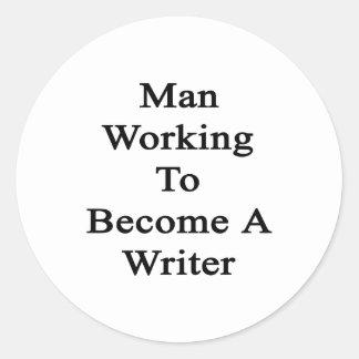 Funcionamiento del hombre a hacer un escritor pegatina redonda