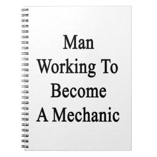 Funcionamiento del hombre a hacer un mecánico libro de apuntes con espiral
