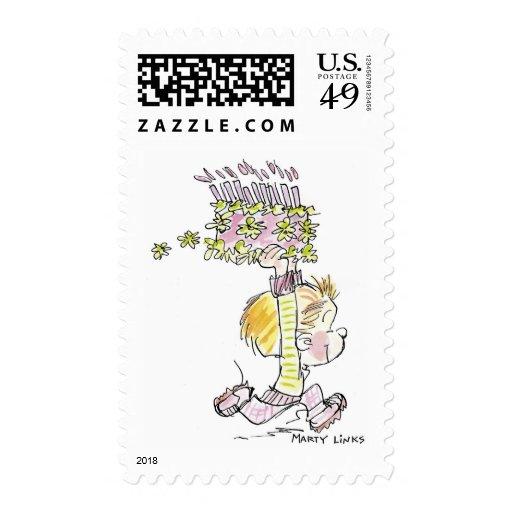 Funcionamiento del muchacho del cumpleaños de sellos